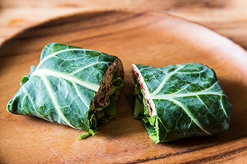 Collard Wraps with Herbed Cashew Spread and RoastPeppers