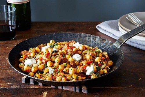 Dinner Tonight: Chickpeas and Chorizo + Celery and Fennel Salad