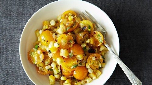 Tomato Salad With Corn, Summer Squash & Roasted Onions Recipe on Food52