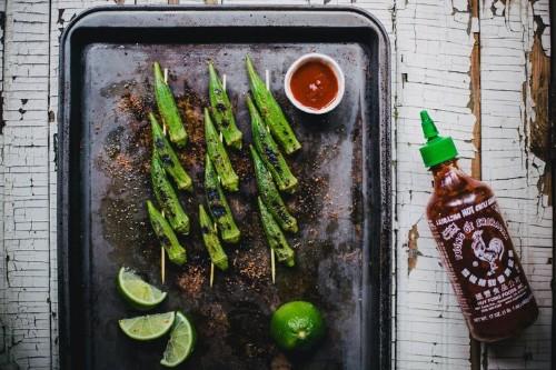 Grilled Okra with Sriracha Lime Salt Recipe on Food52