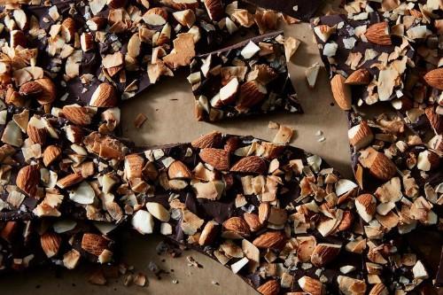 Dark Chocolate Bark Recipe with Almonds & Coconut