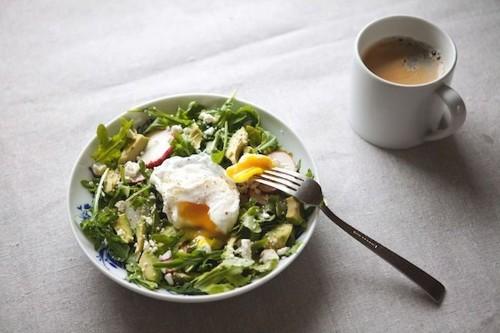 Arugula, Avocado and Radish Salad with PoachedEgg