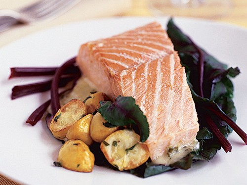 Salt-Baked Salmon with Prosecco Butter Sauce