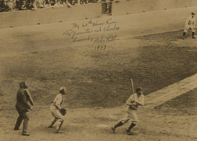 For Sale: Signed $100K Babe Ruth Photo Of Him Hitting His 60th Home Run In 1927