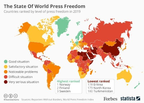 The State Of World Press Freedom In 2019 [Infographic]