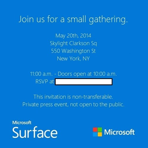 Press Event Invitation From Microsoft Hints At Surface Mini Unveiling