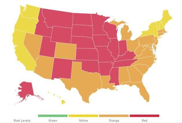 Travel Alert: 21 States Now 'At A Tipping Point,' Per Harvard-Brown Covid-19 Tracker