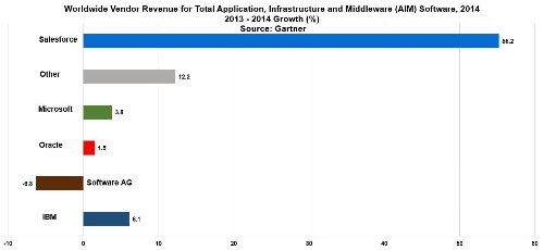 Salesforce Grew Their Application Infrastructure & Middleware Revenue 55% Last Year