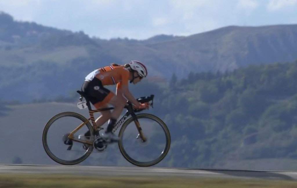 Helicopter Tracking Shot Of New Women's World Champion Road Cyclist Deserves Oscar
