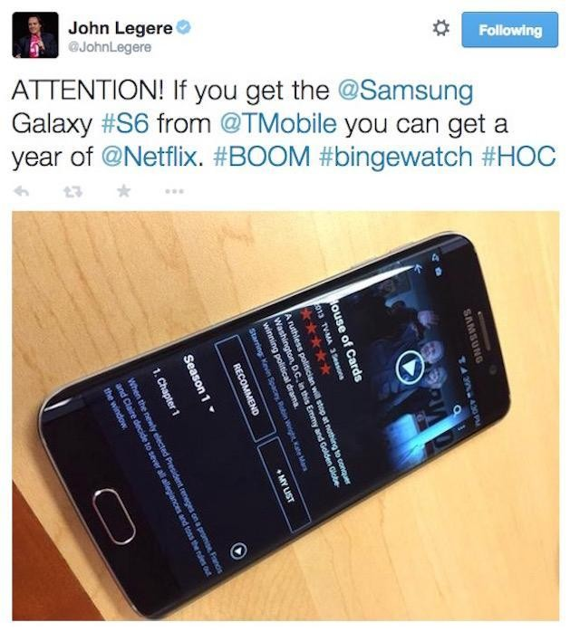 T-Mobile Offers One Free Year Of Netflix For Buying A Samsung Galaxy S6