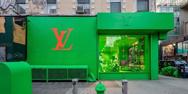 Louis Vuitton Created A Pop-Up In NYC Covered Entirely In Neon Green For Its Fall Men's Collection