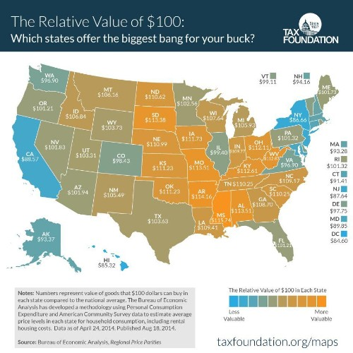 How Far $100 Goes In Each State And Major Metropolitan Area