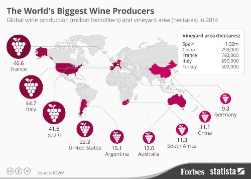 China Surpasses France In Vineyards But Trails In Wine Production [Infographic]