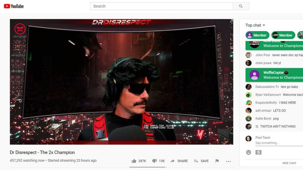 Dr Disrespect Gives Statement On Twitch Ban During His YouTube Return Stream