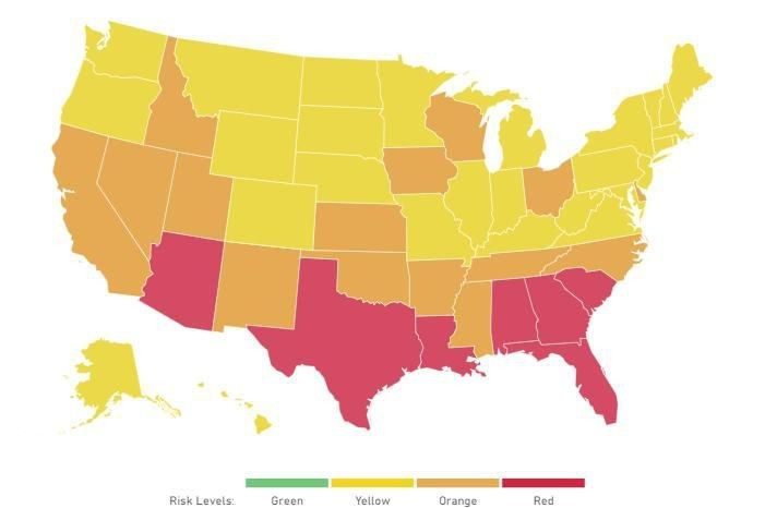 Travel Alert: 7 Southern States At 'Tipping Point,' Per Harvard's COVID-19 Tracking Site