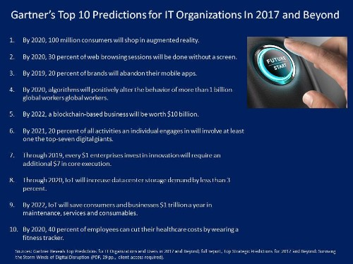 Gartner's Top 10 Predictions For IT Organizations In 2017 And Beyond