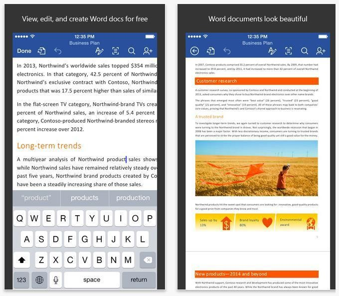 Microsoft Office Offers Free Content Creation And Editing For iOS And Android Apps