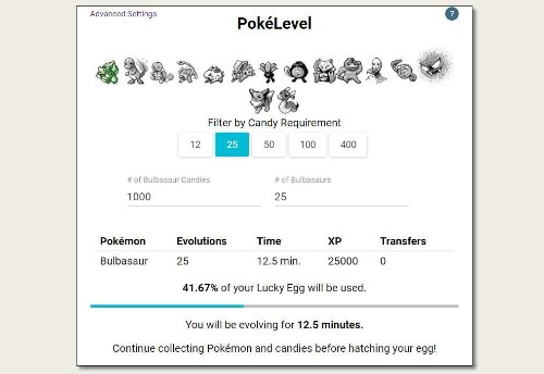 PokéLevel Simplifies Planning An Evolution Blitz To Maximize Experience Gain In Pokémon GO