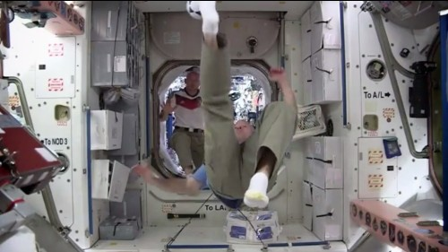 U.S. And German Astronauts Play Soccer In Space