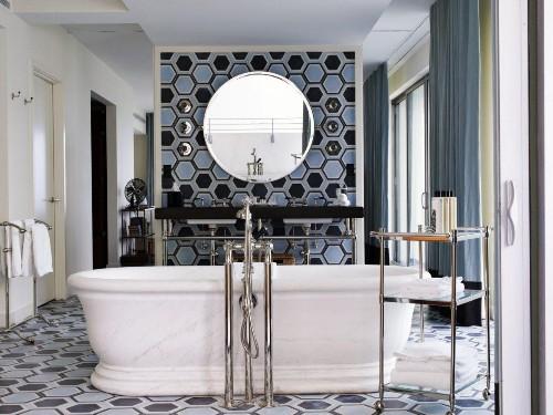Gorgeous Bathrooms with Round & Geometric Tiles