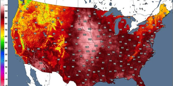 The Heat Index Could Climb Near 110°F Across Parts Of The Central Plains On Saturday