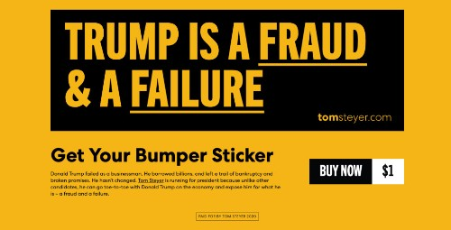 Tom Steyer Buys Trump Campaign URL, Uses Site to Call President a 'Fraud and Failure'