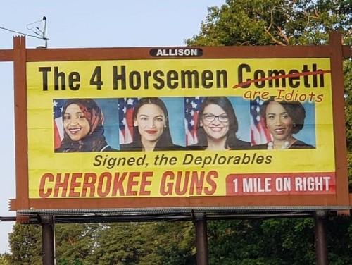 North Carolina gun shop billboard mocks the 'Squad' as 'idiots'