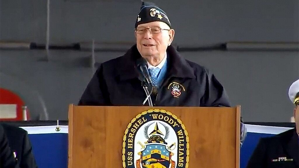 Medal of Honor recipient from Battle of Iwo Jima sees Navy warship commissioned in his honor