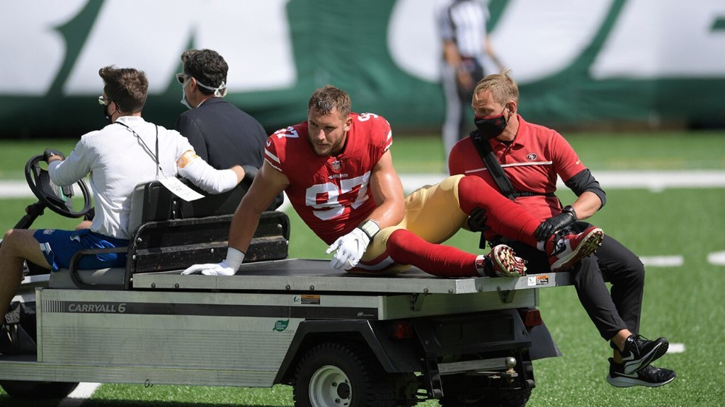 49ers star Nick Bosa tore ACL, team says