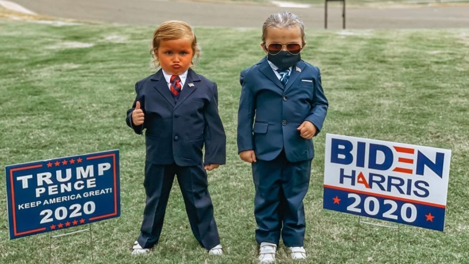 Twins girls, 4, wear Trump, Biden costumes for Halloween