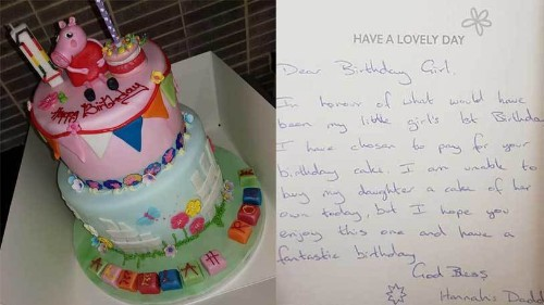Anonymous dad buys cake for stranger's niece on his late daughter's birthday, leaves bakery 'in tears'