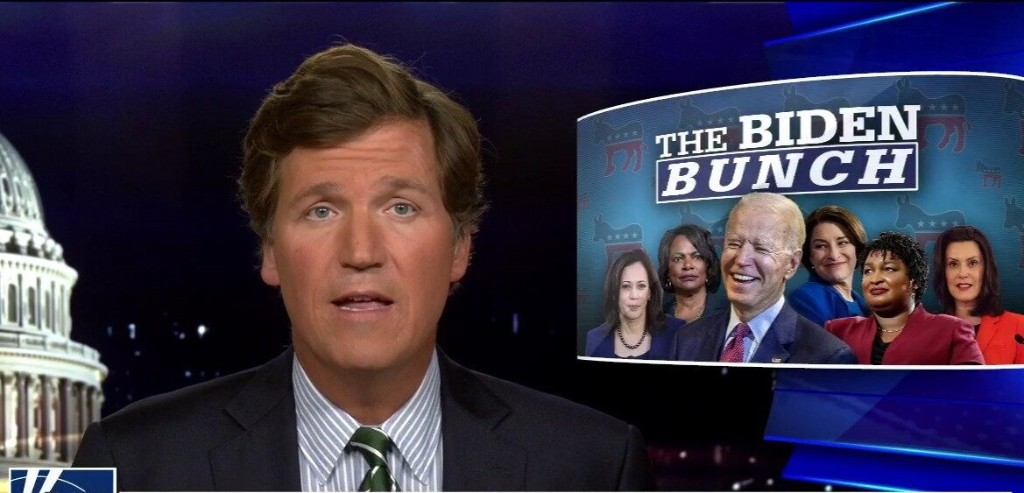 Tucker Carlson warns Biden's pick to be his running mate 'will run the government' if ex-VP wins election
