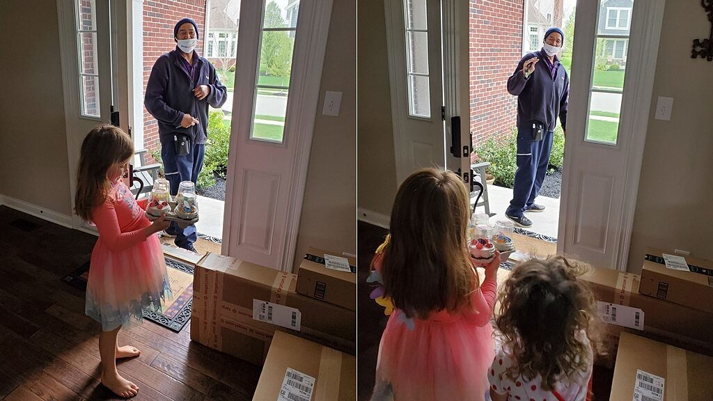 FedEx driver surprises girl, 6, with cupcakes on quarantine birthday
