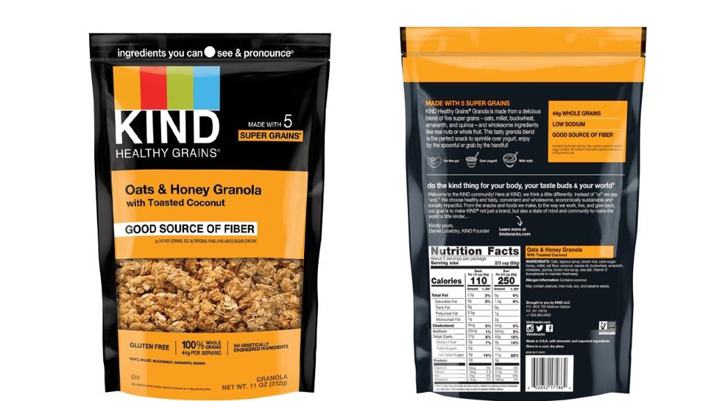 Kind recalls some granola due to undeclared ingredients