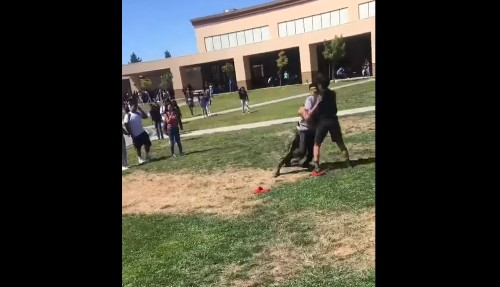 California Marine filmed violently tackling two brawling students to the ground