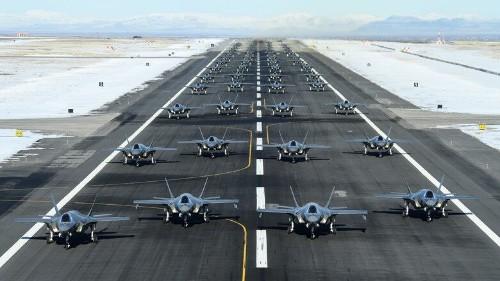 Elephant Walk at Utah Air Force Base showcases 52 F-35s launching in a row