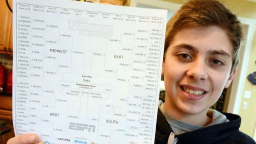 Illinois sixth-grader ties for 1st in ESPN's bracket challenge, denied top prize