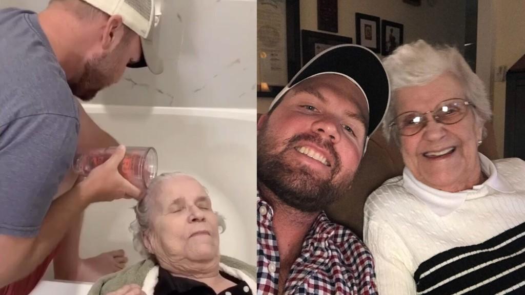 Grandson creates viral TikTok video of treating grandma to day at 'salon'