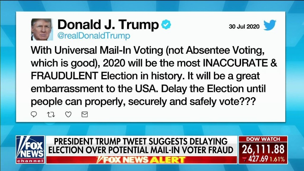 """""""Portrays Weakness, Ignorance, Stupidity & No Respect For The Rule Of Law"""" Judge Andrew Napolitano On Trump's Tweet Suggesting To Delay Election"""