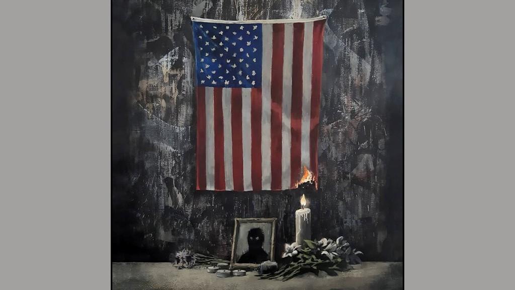 Latest Banksy art shows burning American flag in Floyd tribute