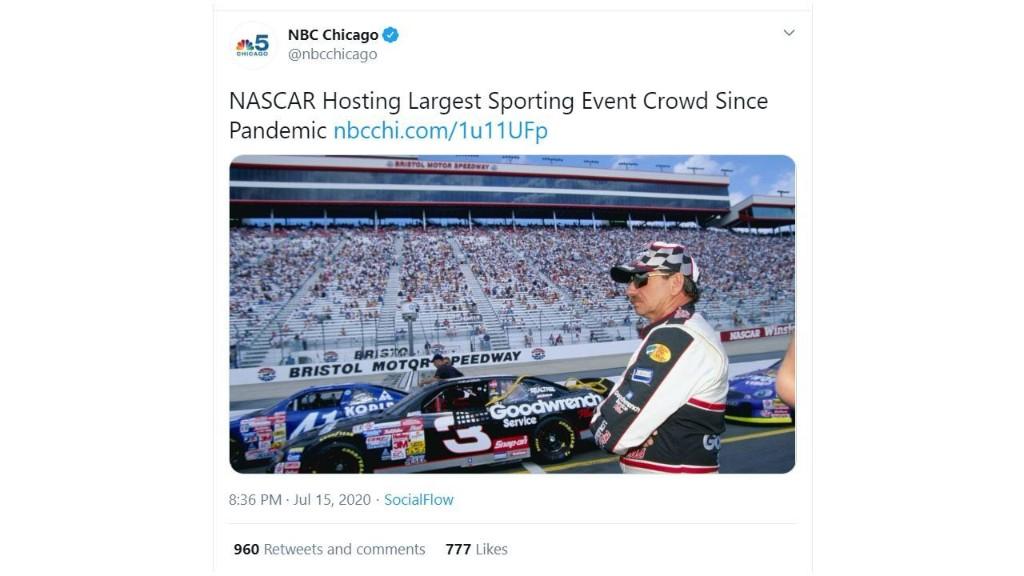 NBC affiliate deletes tweet featuring Dale Earnhardt Sr. after NASCAR fans complain