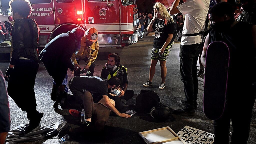 LA police detain, release driver after vehicle plows into protesters; at least 1 injured: report