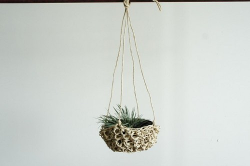 A Winter-Weight Woven Hanging Planter