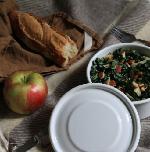 Fall Favorite: Raw Kale Salad with Apples and Almonds