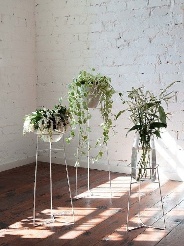 A Bewitching Trio of Wire Plant Stands