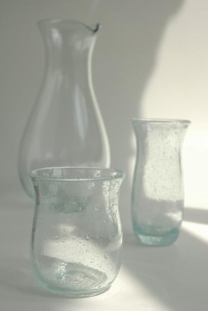 Recycled Air-Bubbled Glass Pitcher and Glasses