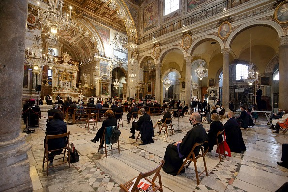 A view the Roman Basilica of Aracoeli during an International Prayer...