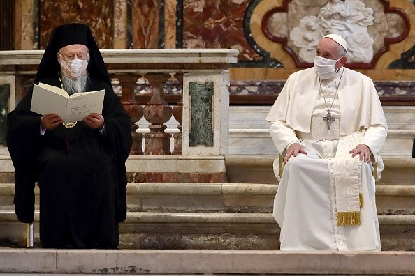 Pope Francis and Ecumenical Patriarch of Constantinople, Bartholomew...