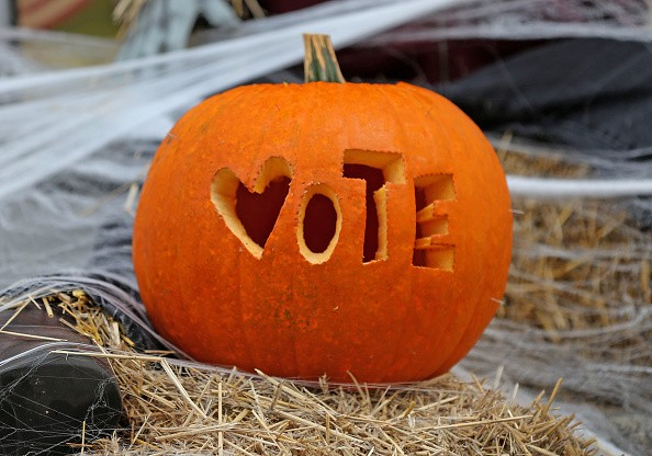 A pumpkin reminds us to VOTE in Hanover, MA
