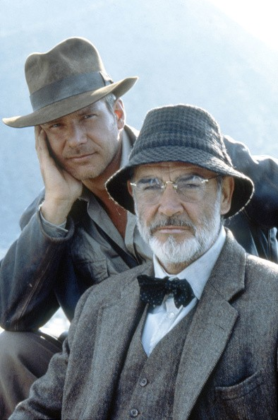 """Actors Harrison Ford and Sean Connery on the set of """"Indiana Jones..."""